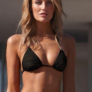 Vitamin A Gia Triangle Bikini Top In Black & Gold